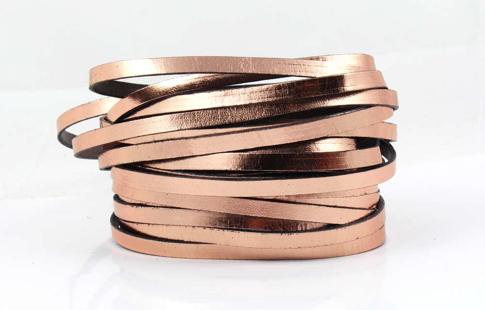 uk availability 624a2 e7286 Lederband - rosegold metallic - 5 x 1,5 mm